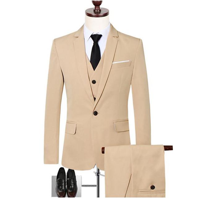Noir / Rouge Bordeaux / Kaki Couleur Pleine Coupe Slim Coton Costume - Cranté Droit 1 bouton / costumes
