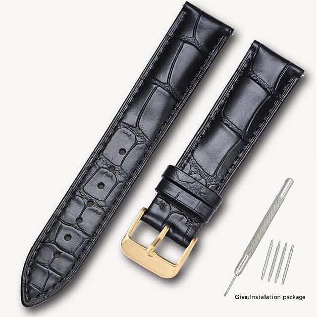 Prawdziwa skóra / Skóra / Sierść cielęca Watch Band Czarny / Brązowy 17cm / 6.69 cala / 18cm / 7 cala / 19cm / 7.48 cala 1.4cm / 0.55 cala / 1.6cm / 0.6 cala / 1.8cm / 0.7 cala