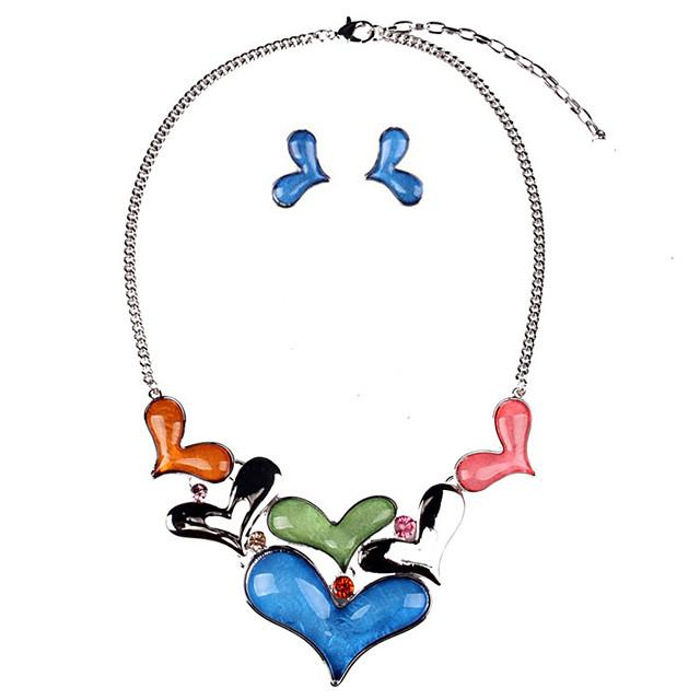 여성용 스터드 귀걸이 목걸이 하트 세련 귀걸이 보석류 레드 / 블루 제품 일상 1 세트