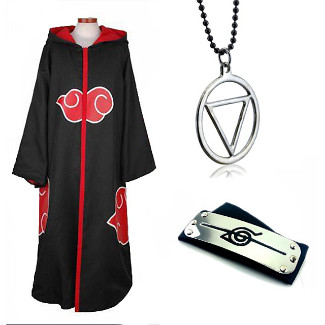 Inspired by Naruto Akatsuki Anime Cosplay Costumes Japanese Cosplay Suits Cosplay Accessories Solid Colored Long Sleeve Necklace Headband Hoodie Cloak For Men's Women's