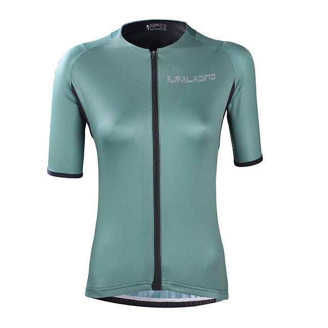 ILPALADINO Kadın's Kısa Kollu Bisiklet Forması Elastan Yeşil Tek Renk Bisiklet Forma Üstler Yol Bisikletçiliği Uv dayanıklı Hızlı Kuruma Nem Emici Spor Dalları Giyim / Arka cep