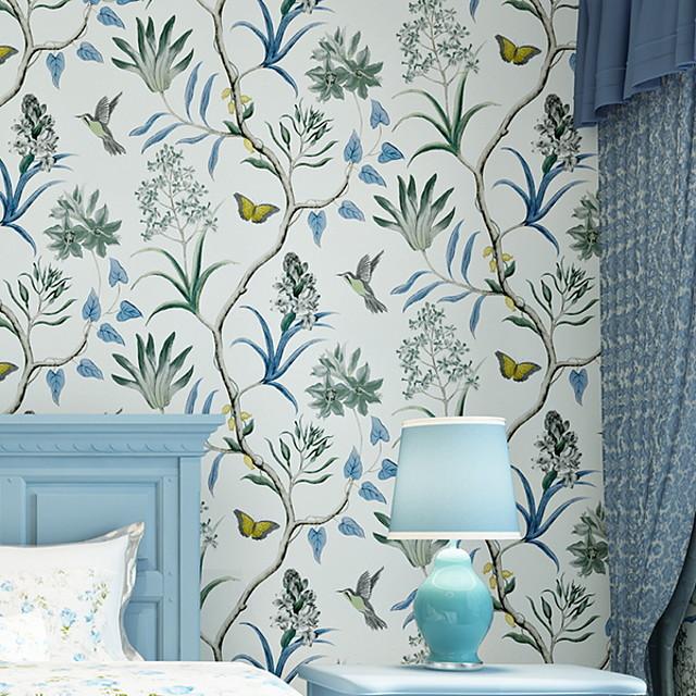 papier peint non-tissé adhésif de revêtement mural requis floral botanique 1000 * 53 cm