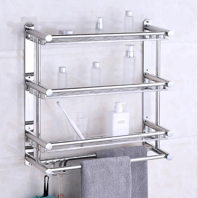 étagères de salle de bain support de salle de bain en acier inoxydable support mural d'angle de salle de bain à trois niveaux avec 4 crochets