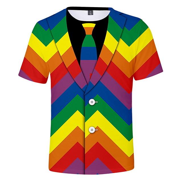 Per uomo maglietta Pop art Simulazione Con stampe Manica corta Casual Top Rotonda Nero Arcobaleno / Estate