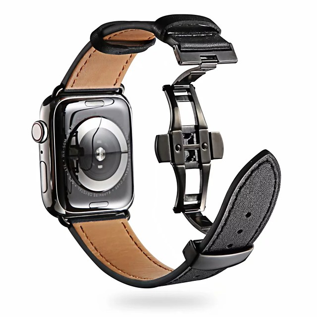 Klokkerem til Apple Watch Series 5/4/3/2/1 Apple Klassisk spenne Ekte lær Håndleddsrem