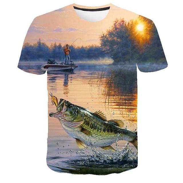 Per uomo maglietta Pop art 3D Taglie forti Con stampe Manica corta Casual Top Rotonda Blu / Estate