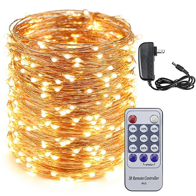 KWB 50m Guirlandes Lumineuses 500 LED 1 câbles DC Alimentation 1 X 12V 3A 1 set Blanc Chaud Blanc Bleu Décoration de mariage de Noël 100-240 V