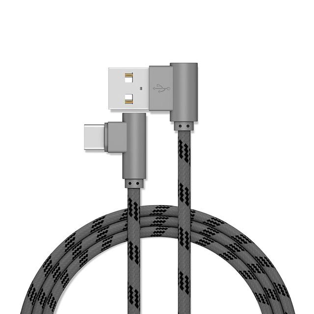 USB C Cavi Placcato in oro Carica rapida Trasmissione dati 1.0m (3 piedi) Alluminio Acciaio inossidabile Per Xiaomi MI Samsung Xiaomi Appendini per cellulare