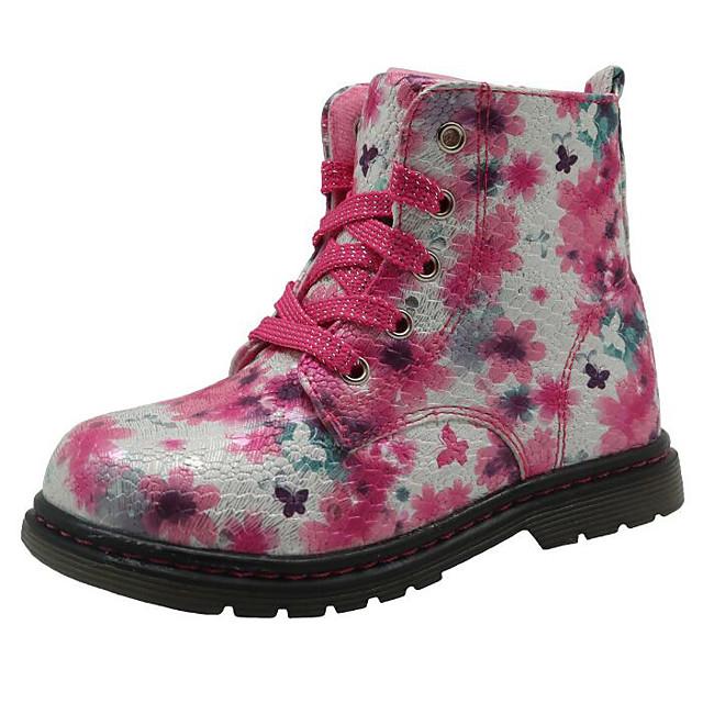 여아 부츠 컴포트 패션 부츠 PU 핑크와 화이트 라이트 퍼플 핑크 가을 겨울 / 부티 / 앵클 부츠