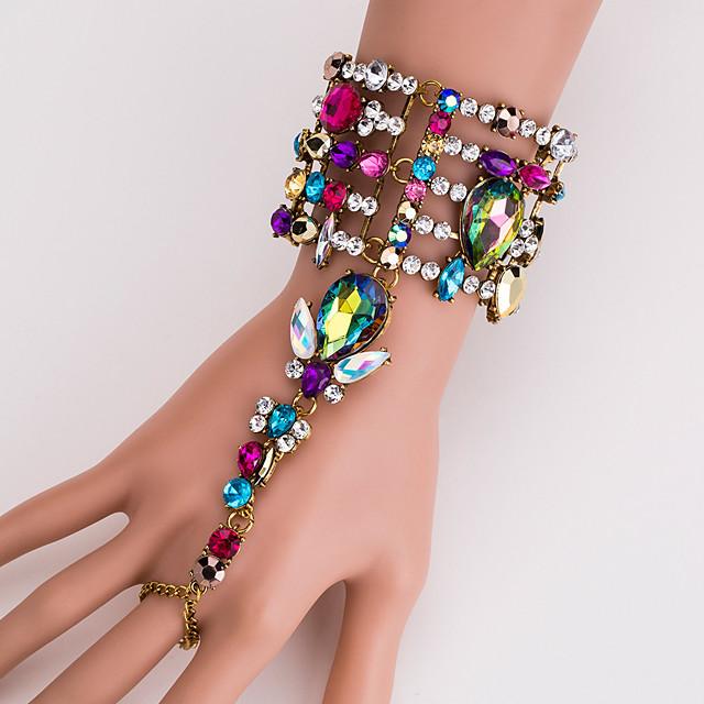 Pentru femei Multicolor Ring Bracelets Geometric Prinţesă Declarație Stilat European Ștras Bijuterii brățară Argintiu / Curcubeu Pentru Zilnic