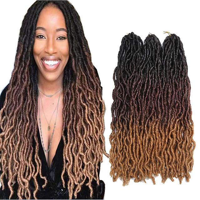 Dreadlocks Faux Locs Nu Locs Box Braids Couleur naturelle Cheveux Synthétiques 18 pouce Rajouts de Tresses 3 Pièces