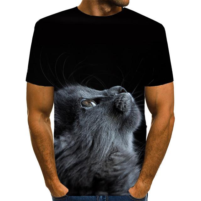 Homme T shirt Bloc de Couleur 3D Animal Imprimé Manches Courtes Usage quotidien Hauts Chic de Rue Exagéré Noir