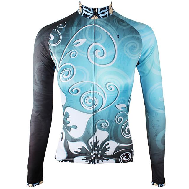 ILPALADINO Femme Manches Longues Maillot Velo Cyclisme Hiver Toison Elasthanne Bleu Ciel Floral Botanique Cyclisme Maillot Hauts / Top VTT Vélo tout terrain Vélo Route Chaud Doublure Polaire Des
