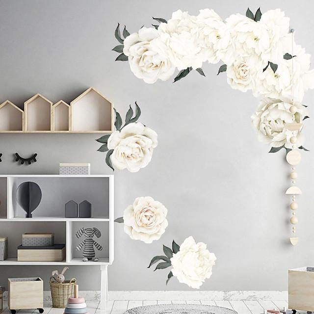 beyaz güzel çiçekler duvar çıkartmaları - sözler& ampamp duvar çıkartmaları karakterler tırnaklar çalışma odası / ofis / yemek odası / mutfak