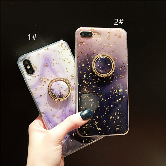 Coque Pour Apple iPhone XS / iPhone XR / iPhone XS Max Anneau de Maintien / Motif / Brillant Coque Marbre Flexible TPU