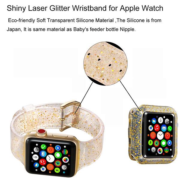 Разноцветный блеск мягкий силиконовый спортивный ремешок для Apple Watch Band 38/40 мм 42/44 мм серии 4 3 2 1 запястье