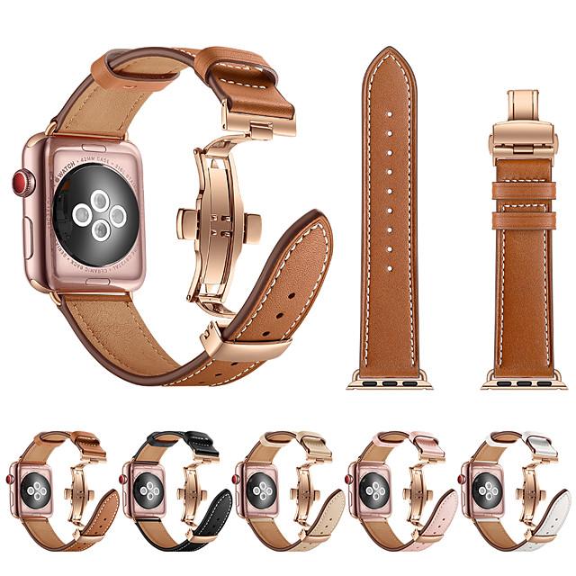 حزام إلى أبل ووتش سلسلة 5/4/3/2/1 Apple فراشة مشبك معدني ل جلد طبيعي شريط المعصم