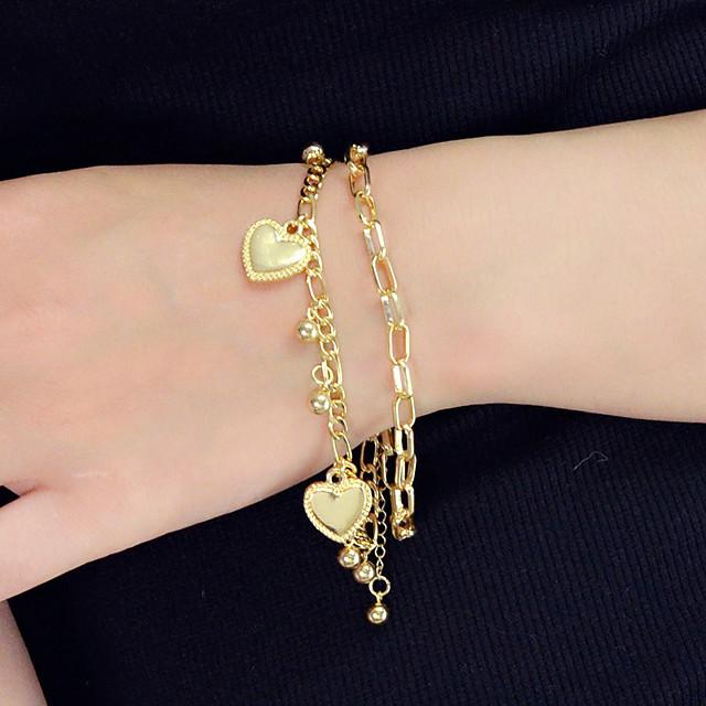 Breloque Charms Bracelet Femme Multirang Cœur unique Branché Mode Bracelet Bijoux Dorée Argent pour Soirée Travail Festival