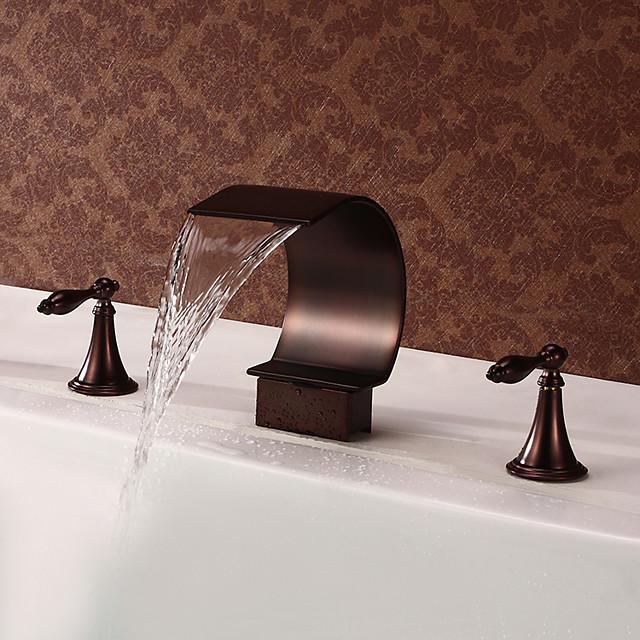 slavina za sudoper u kupaonici, vodopad bronzana uljana trljana dvije ručke slavine za kupatilo s tri rupe s prekidačem za toplo i hladno
