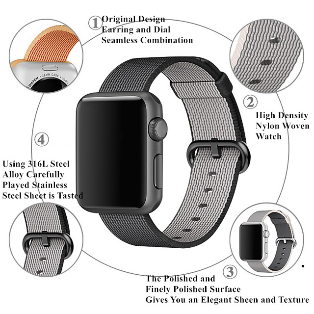 smartwatch band til Apple Watch serien 4/3/2 / 1nylon band mode blød åndbar iwatch rem