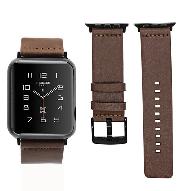 äkta läder armband armband band watch för Apple Watch serien 1/2/3/4 38mm 40mm 42mm 44mm