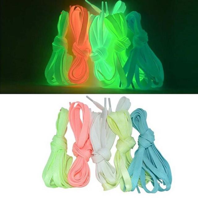 2pcs lacets lumineux sport athlétique chaussures en toile plates dentelle brillent dans la nuit noire lacets fluorescents