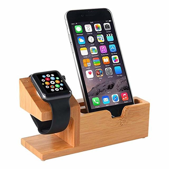 совместимо с подставкой для часов Apple, подставка для зарядки USB подставка для телефона с портом зарядки 3 USB бамбуковая деревянная зарядная станция для док-станции 38 мм и 42 мм