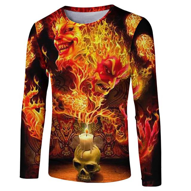 Homme T shirt Bloc de Couleur 3D Crânes Grandes Tailles Imprimé Manches Longues Décontracté / Quotidien Hauts basique Chic de Rue Jaune