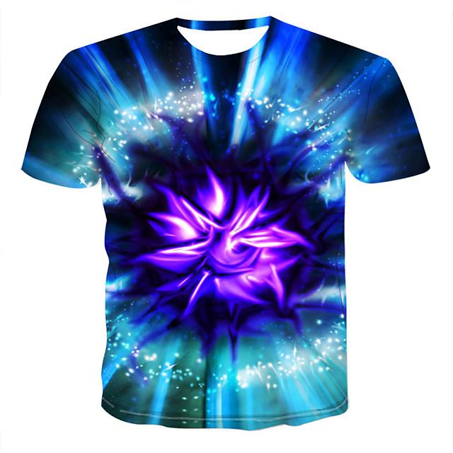 Homme T shirt Graphique Géométrique 3D Grandes Tailles Imprimé Manches Courtes Sortie Hauts Elégant Chic de Rue Bleu
