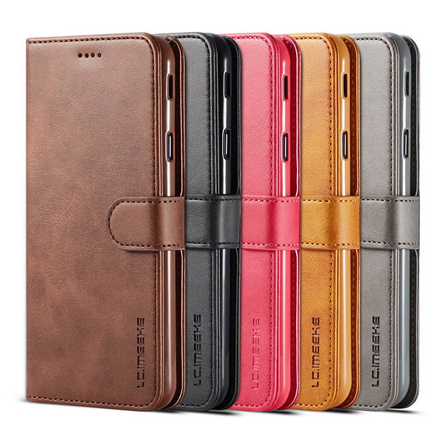 lc.imeeke Leather Case For Samsung Galaxy A8 Plus A5 2018 Fashion Student Business Leather Phone Protective Case For A5 A7 A8 A9 A40 A30 A50 A70 Flip Cover Wallet