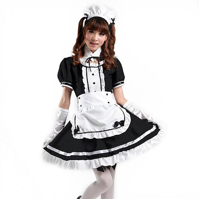 Εμπνευσμένη από Στολές Ηρώων Maid Suits Anime Στολές Ηρώων Ιαπωνικά Κοστούμια Cosplay Φορέματα Τεμάχια Κεφαλής Patchwork Κοντομάνικο Φόρεμα Κολάρα Ποδιά Για Γυναικεία / Καλύμματα Κεφαλής