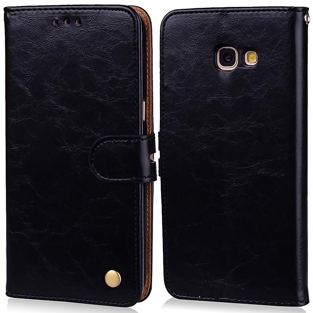 غطاء من أجل Samsung Galaxy A5 (2017) حامل البطاقات / قلب غطاء كامل للجسم لون سادة قاسي جلد PU
