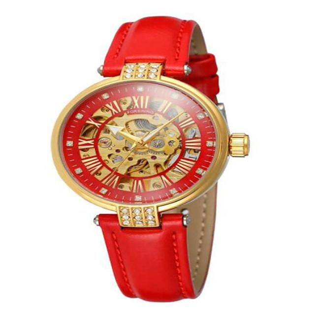 Dames mechanische horloges Automatisch opwindmechanisme Elegant Waterbestendig Analoog Zwart blauw Rood / Echt leer / Hol Gegraveerd / Echt leer