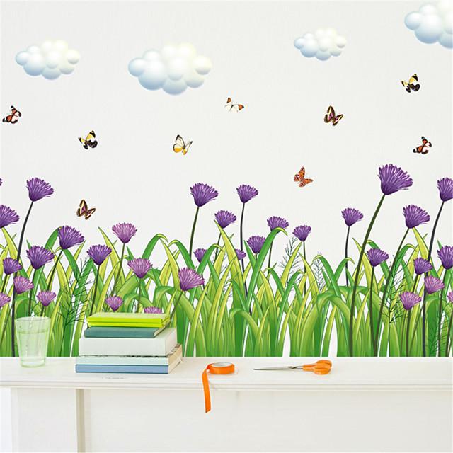 الأزهار / النباتية ملصقات الحائط لواصق حائط الطائرة لواصق حائط مزخرفة, PVC تصميم ديكور المنزل جدار مائي جدار زخرفة 1PC / قابل للنقل