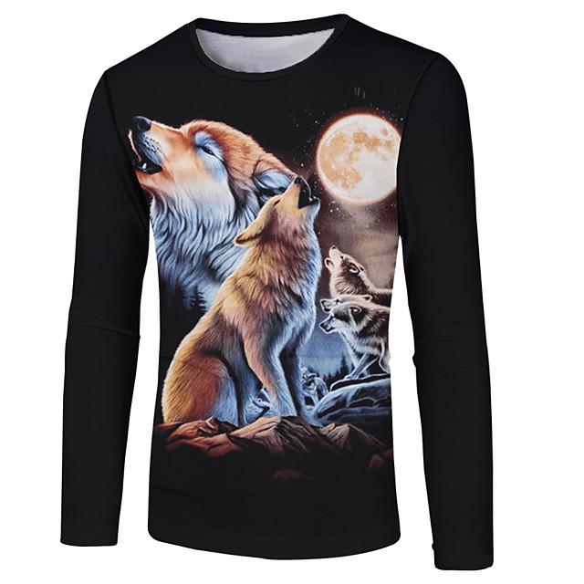 Homme T shirt Bloc de Couleur 3D Animal Grandes Tailles Imprimé Manches Longues Décontracté / Quotidien Hauts basique Chic de Rue Noir
