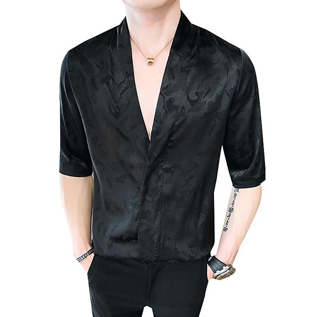 Homme Chemise Couleur Pleine Grandes Tailles Imprimé Manches Longues Sortie Hauts Elégant Chic de Rue Blanche Noir Rose Claire