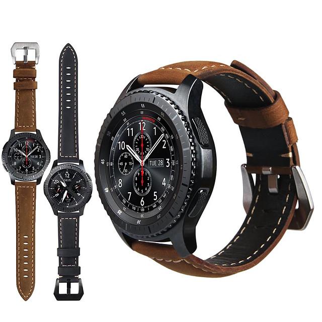 ekte lær retro armbånd armbåndsur watch band for samsung galaxy ur 46mm / gear s3 classic / grenser smart klokke