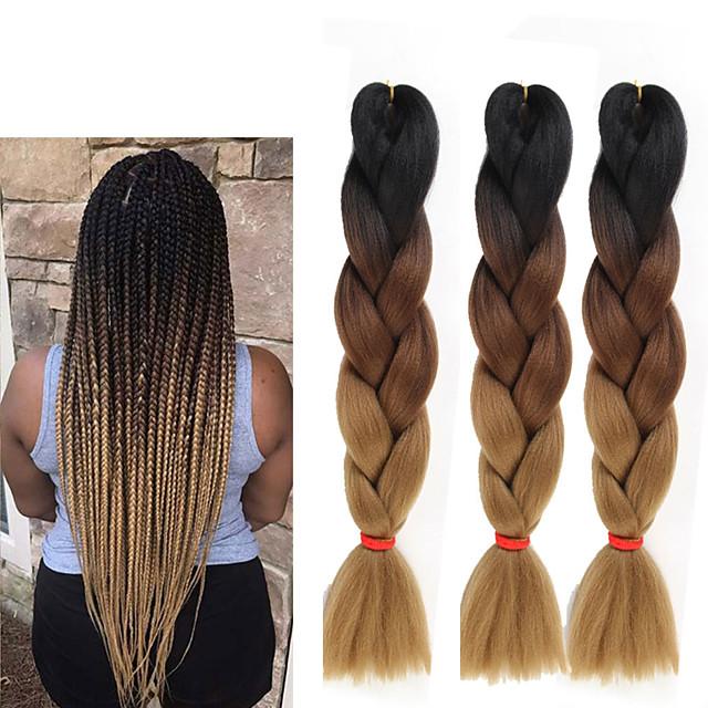 Crochet Hair Braids Jumbo Box Braids Couleur naturelle Cheveux Synthétiques 24 pouce Rajouts de Tresses 3 Pièces Résistant à la chaleur