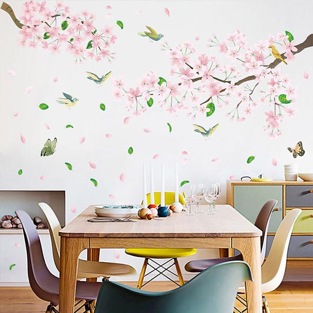 Stickers muraux fleurs et oiseaux roses - Stickers muraux 3d floral / botanique / paysage salle d'étude / bureau / salle à manger / cuisine 60 * 45cm