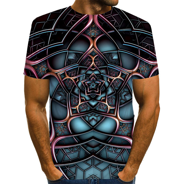 Homme T shirt Graphique Bloc de Couleur 3D Imprimé Manches Courtes Usage quotidien Hauts Chic de Rue Exagéré Bleu Marine