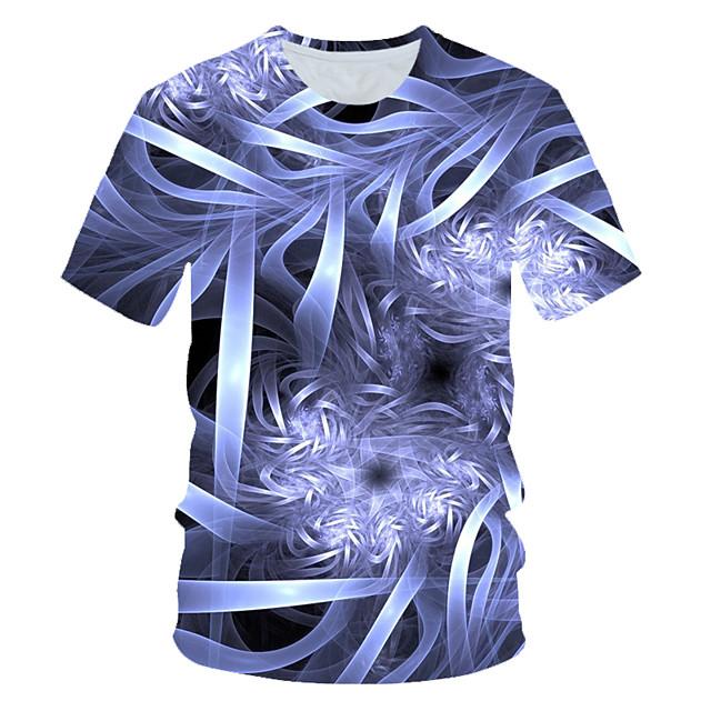 남성용 T 셔츠 컬러 블럭 3D 프린트 짧은 소매 일상복 탑스 스트리트 쉬크 과장된 밝은 블루