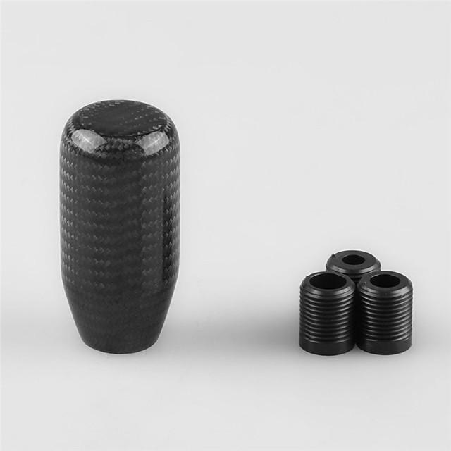 탄소 섬유 매뉴얼 기어 시프트 스틱 쉬프터 레버 노브 3 어댑터 범용 자동차