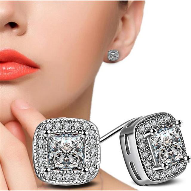 Femme Zircon cubique Boucles d'Oreille Classique Chanceux Elégant Glacé Des boucles d'oreilles Bijoux Blanc Pour Cadeau Quotidien 1 paire