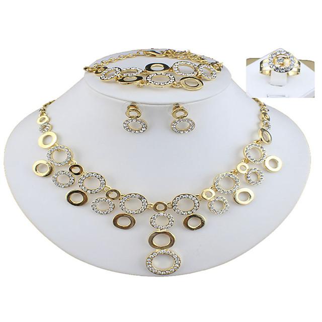 בגדי ריקוד נשים זהב סטי תכשיטי כלה תגובת שרשרת סופגניות וינטאג' אבן נוצצת עגילים תכשיטים זהב עבור חתונה ארוסים מתנה 1set