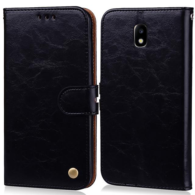 Case สำหรับ Samsung Galaxy J3 (2017) Card Holder / Flip ตัวกระเป๋าเต็ม สีพื้น Hard หนัง PU