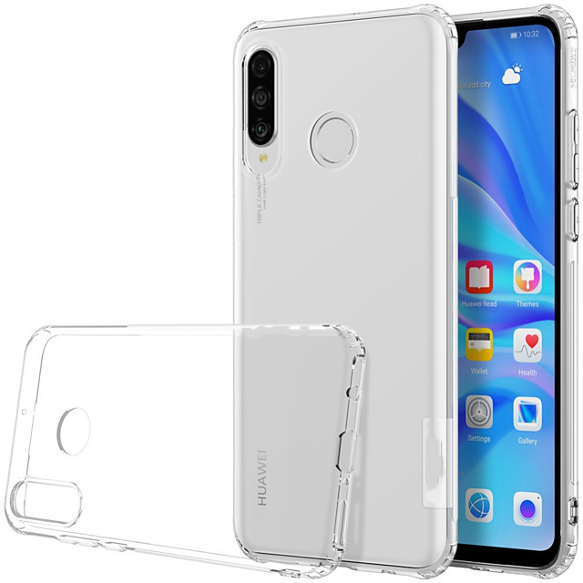 Case For Huawei Huawei P30 Lite Shockproof / Transparent Back Cover Transparent Soft TPU