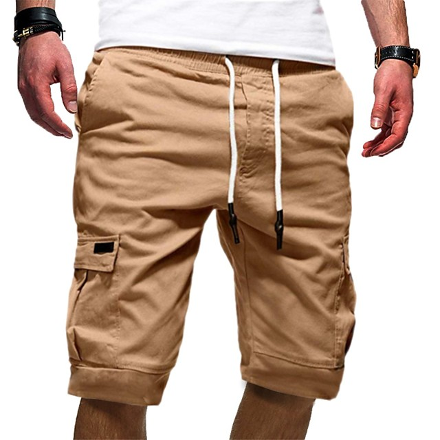 Men's Half Trousers With Multi-pockets Basic Chinos Shorts Pants Solid Colored Knee Length White Black Khaki Green Gray