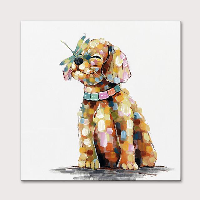 Peinture à l'huile Hang-peint Peint à la main Carré Animaux Pop Art Moderne Rideau (sans cadre)