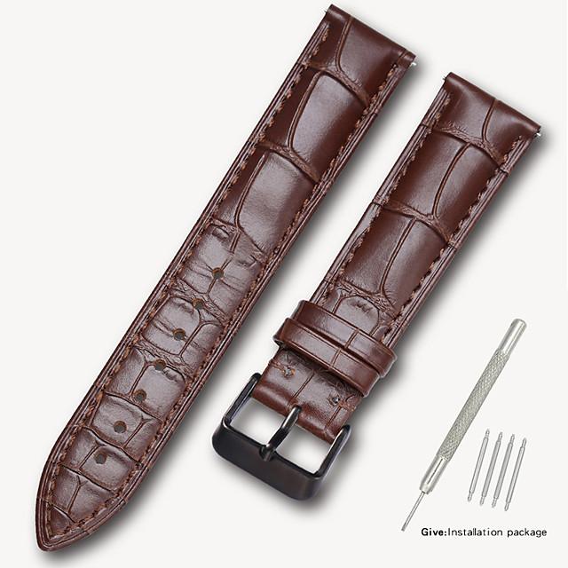 Cuir véritable / Cuir / Poil de veau Bracelet de Montre  Noir / Marron 17cm / 6,69 pouces / 18cm / 7 Pouces / 19cm / 7.48 Pouces 1.4cm / 0.55 Pouces / 1.6cm / 0.6 Pouces / 1.8cm / 0.7 Pouces