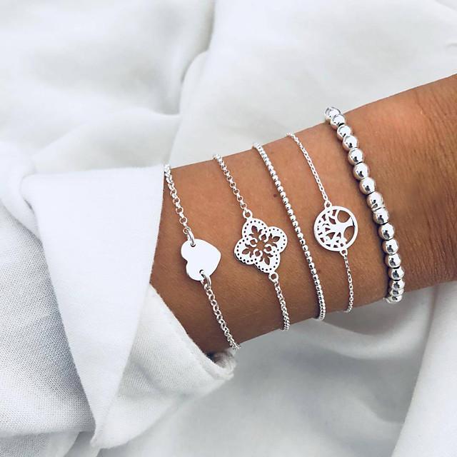 Parure Bracelet Femme Perlé Cœur arbre de la vie Européen Mode Bracelet Bijoux Argent pour Quotidien Vacances